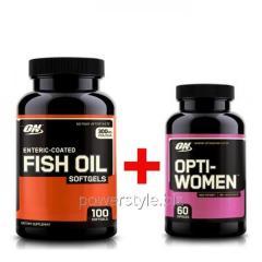 Минералы Fish oil (100 капсул) + Opti women (60