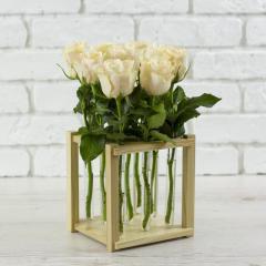 Деревянная декоративная подставка для цветов на 9