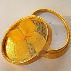 Подарочные коробочки к брелокам с номером авто (под золото, секребро) овальная