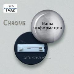 Бейдж круглый металлический под серебро с 3д линзой изготовим за 1 час ///эконом вариант)