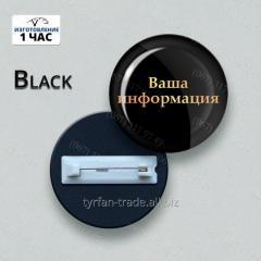 Бейдж круглый металлический черный с 3д линзой изготовим за 1 час ///эконом вариант)