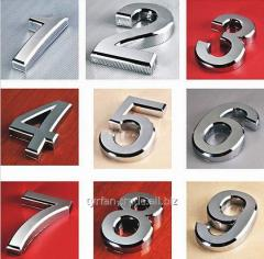 Номерок на дверь квартиры из металла (цыфры) на липкой основе