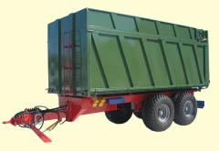 The tractor dumping TSP-20t trailer with