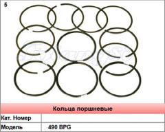 Piston rings for engines 490 BPG of loaders in