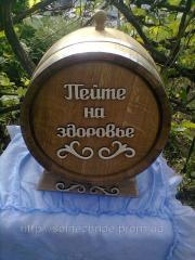 Oak barrel on 30 l (a stainless steel, black