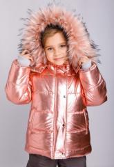 Стильная зимняя куртка на девочку Серебро и