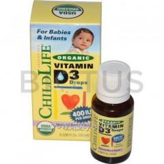 Витамин Д3 для детей, Vitamin D3 Drops, ChildLife,