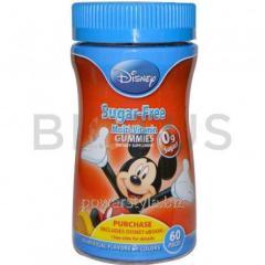Мультивитамины без сахара, Мики, Sugar-Free Multi-Vitamin Gummies, Disney, 60 жв.