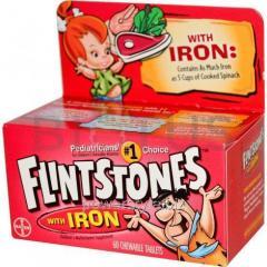 Детские поливитамины с железом, Children's Multivitamin Supplement with Iron, Flintstones, 60 жев. таблеток