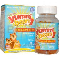 Витамин D3 для детей, Yummi Bears, Hero Nutritional Products, 600 МЕ, 60 штук