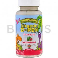 Витамин Д3, со вкусом арбуза, Vitamin D-Rex, KAL,