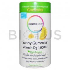 Витамин Д3, Gummies Vitamin D3, Rainbow Light, лимон, 1000 МЕ, 100 таблеток
