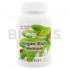 Вегетарианские мультивитамины для детей, Vegan Kids Multiple, VegLife, 60 табл.