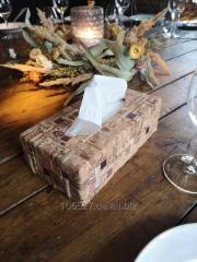 Диспенсер для салфеток из дерева и винной пробки \