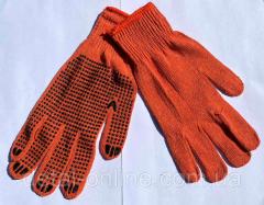 Перчатки рабочие с ПВХ покрытие. Оранжевые