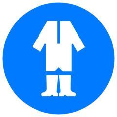 Знак Работать в защитной одежде! d-250 пластик ПВХ