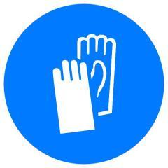 Знак Работать в защитных перчатках! d-250 пластик