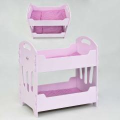 Кроватка для кукол Мася, двухъярусная, розовая -