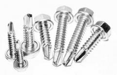 Self-tapping screws with the six-sided head and