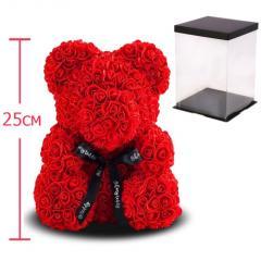 Мишка из роз, 25 см KS Bear Flowers KS B1 Red SKL11-148567