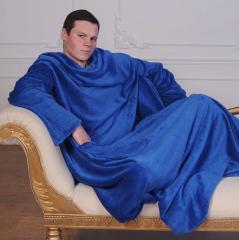 Рукоплед. Плед с рукавами и карманами из микрофибры 200х150. Синий SKL20-141162