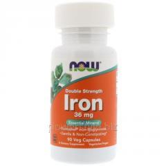 Минералы NOW Foods, Iron, 36 мг, 90 капсул