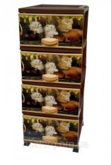 Комод пластиковый 4 ящика с рисунком Котики Elif