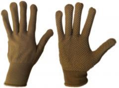 Перчатки женские нейлоновые с ПВХ точкой (упаковка