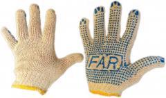 Перчатки х\б рабочие FAR с ПВХ точкой (упаковка 12