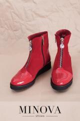 Красные натуральные ботинки с лакированными...