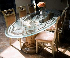 Tables are glass, tables from glass and marble,