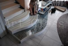 Steps, floors glass - glass in an interior,