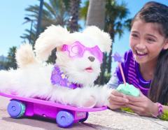 Собачка Трикси на скейтборде, с дистанционным