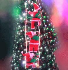 Декоративный Дед Мороз на лестнице 3 фигурки по