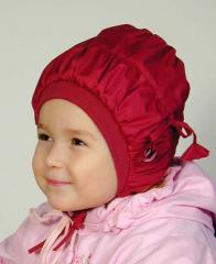 Hats children's warmed from raincoat fabric