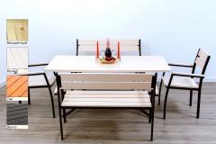 Комплект Стелла (стол + 2 стула + 2 скамейки)