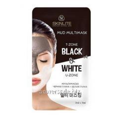Мультимаска-пленка для лица черная глина + белая