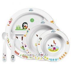 Столовый набор посуды с развивающими рисунками ТМ