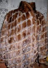 Mink coat (short fur coat) of brown color. Shaven