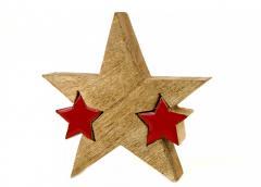 M15-770031, Декор звезда деревянная красная,