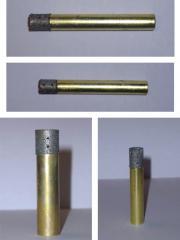 Drills are diamond tubular brass. Diameter is from