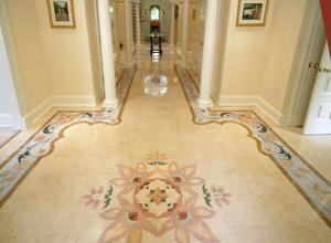 Floors from a natural, natural stone (marble,