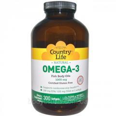 Омега-3 Country Life 1000 мг,  300 мягких...