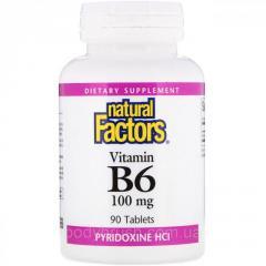 Витамин B6 Natural Factors,  пиридоксин HCl,...