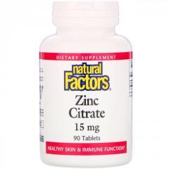 Цитрат цинка Natural Factors,  15 мг,  90...