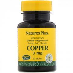 Медь Nature's Plus,  3 мг,  90 таблеток