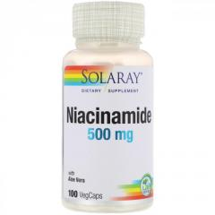 Витамин B-3 и никотинамид от Solaray, 500 мг, 100