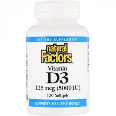 Витамин D3 5000 МЕ Natural Factors,  120...