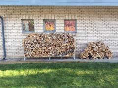 Поленница дровница для запаса дров двойная прямая