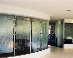The glass laminated triplexes,  an interior...